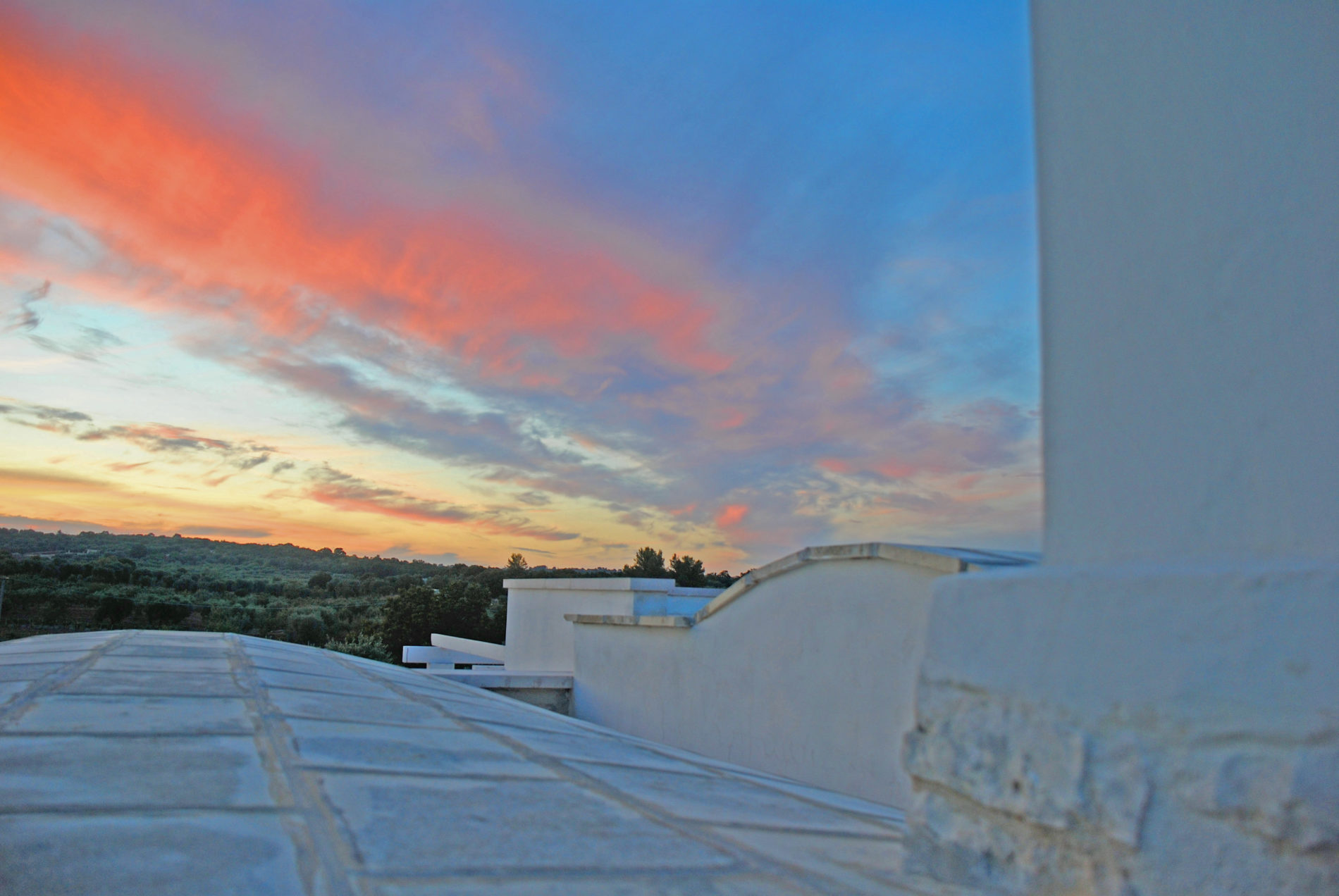 tramonto rosa dalla terrazza